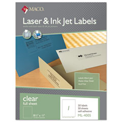 MAC ML4005 MACO Laser/Inkjet Matte Clear Full Sheet Labels MACML4005