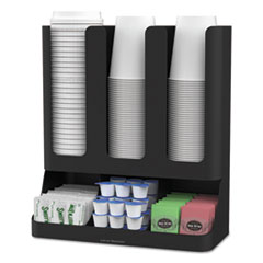 EMS UPRIGHT6BLK Mind Reader Flume 6-Compartment Upright Coffee Condiment and Cups Organizer EMSUPRIGHT6BLK