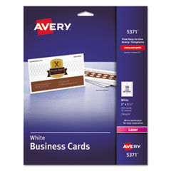 Printable Microperf Business Cards, Laser, 2 x 3 1/2, White, Uncoated, 250/Pack