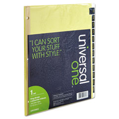 UNV 20823 Universal Deluxe Preprinted Simulated Leather Tab Dividers with Gold Printing UNV20823