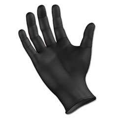 Disposable General Purpose Powder-Free Nitrile Gloves, M, Black, 4.4mil, 100/Box