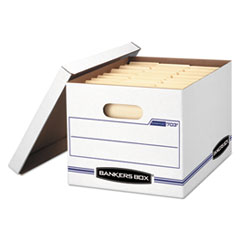 STOR/FILE Storage Box, Letter/Legal, Lift-off Lid, White/Blue, 4/Carton