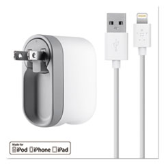 BLK F8J032TT04WH Belkin 2.1 Amp Swivel Charger with Lightning Cable BLKF8J032TT04WH