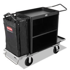RCP 9T62BLA Rubbermaid Commercial High-Capacity Housekeeping Cart RCP9T62BLA