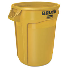 RCP 2610YELEA Rubbermaid Commercial Vented Round Brute Container RCP2610YELEA