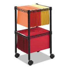 SAF 5221BL Safco Mayline Two-Tier Compact Mobile Wire File Cart SAF5221BL