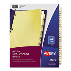 AVE 24280 Avery Preprinted Laminated Tab Dividers with Copper Reinforced Holes AVE24280