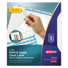 AVE 23120 Avery Print & Apply Index Maker Clear Label Plastic Dividers with Easy Apply Printable Label Strip AVE23120