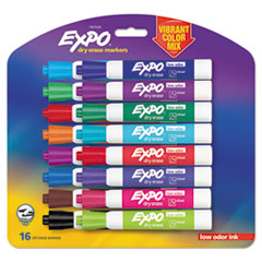Low Odor Dry Erase Vibrant Color Markers, Assorted Colors, Medium, 16/Set