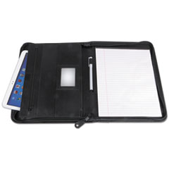 UNV 32665 Universal Leather Textured Zippered PadFolio with Tablet Pocket UNV32665