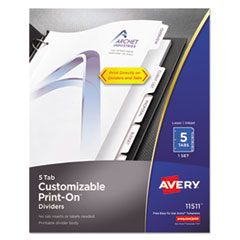 AVE 11511 Avery Customizable Print-On Dividers AVE11511