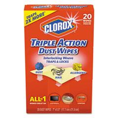 CLO 31313EA Clorox Triple Action Dust Wipes CLO31313EA
