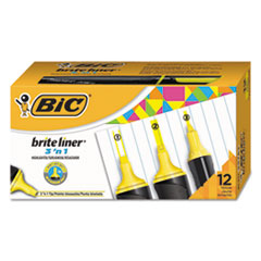 BIC BL311YEL BIC Brite Liner 3 'n 1 Highlighters BICBL311YEL
