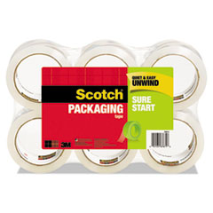 "Sure Start Packaging Tape, 1.88"" x 54.6yds, 3"" Core, Clear, 6/Pack"