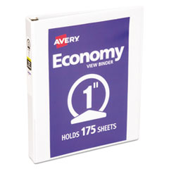 "Economy View Binder w/Round Rings, 11 x 8 1/2, 1"" Cap, White"