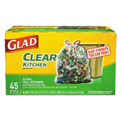CLO 78543 Glad Recycling Tall Kitchen Drawstring Trash Bags CLO78543