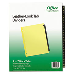AVE 11483 Office Essentials Preprinted Black Leather Tab Dividers AVE11483