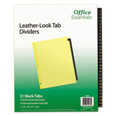 AVE 11485 Office Essentials Preprinted Black Leather Tab Dividers AVE11485