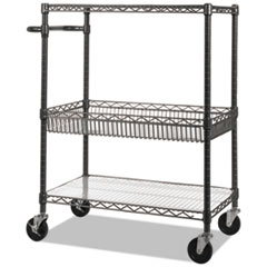 ALE SW543018BA Alera Three-Tier Wire Cart with Basket ALESW543018BA