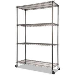 ALE SW604818BA Alera 4-Shelf Wire Shelving Kit with Casters & Shelf Liners ALESW604818BA