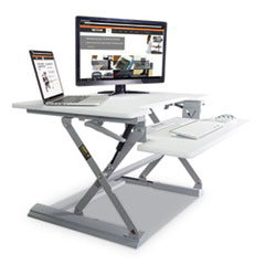 VCT DCX710W Victor High Rise Height Adjustable Standing Desk with Keyboard Tray VCTDCX710W