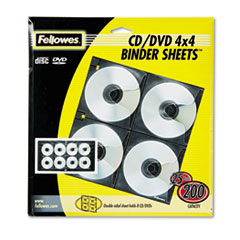 FEL 95321 Fellowes CD/DVD Protector Sheets for Three-Ring Binders FEL95321
