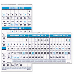 HOD 3647 House of Doolittle 100% Recycled Three-Month Format Wall Calendar HOD3647