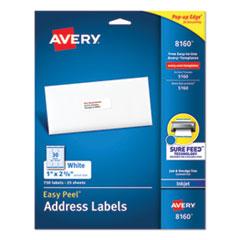 Easy Peel Mailing Address Labels, Inkjet, 1 x 2 5/8, White, 750/Pack