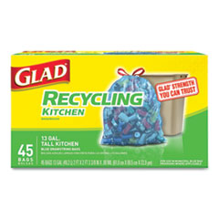 CLO 78542BX Glad Tall Kitchen Blue Recycling Bags CLO78542BX