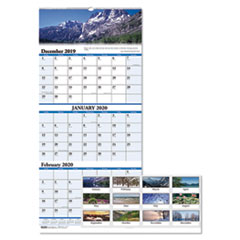 HOD 3636 House of Doolittle Earthscapes 100% Recycled Scenic Three-Month Format Vertical Wall Calendar HOD3636