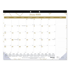 RED C199003 Blueline Gold Collection Monthly Desk Pad Calendar REDC199003