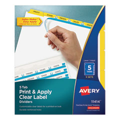 AVE 11414 Avery Print & Apply Index Maker Clear Label Dividers with Easy Apply Printable Label Strip and Color Tabs AVE11414
