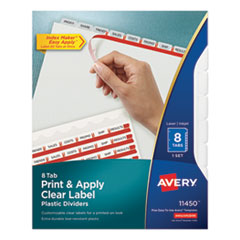 AVE 11450 Avery Print & Apply Index Maker Clear Label Plastic Dividers with Easy Apply Printable Label Strip AVE11450