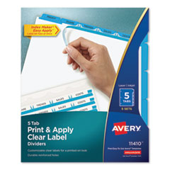 AVE 11410 Avery Print & Apply Index Maker Clear Label Dividers with Easy Apply Printable Label Strip and Color Tabs AVE11410
