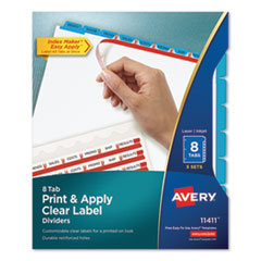 AVE 11411 Avery Print & Apply Index Maker Clear Label Dividers with Easy Apply Printable Label Strip and Color Tabs AVE11411