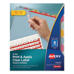AVE 11433 Avery Print & Apply Index Maker Clear Label Plastic Dividers with Easy Apply Printable Label Strip AVE11433