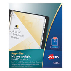 AVE 74204 Avery Page Size Heavyweight Three-Hole Punched Sheet Protector AVE74204