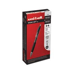 Signo 207 Retractable Gel Pen, 0.7mm, Black Ink, Smoke/Black Barrel, Dozen