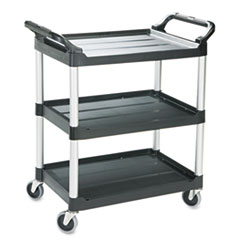 RCP 342488BLA Rubbermaid Commercial Three-Shelf Service Cart RCP342488BLA