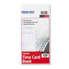 RED 4K402 Rediform Semi-Monthly Employee Time Card RED4K402