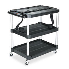 RCP 9T28 Rubbermaid Commercial MediaMaster Three-Shelf AV Cart RCP9T28