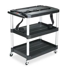 RCP 9T28 Rubbermaid Commercial MediaMaster Three-Shelf AV Cart RCP9T28