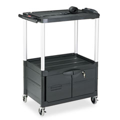RCP 9T32 Rubbermaid Commercial MediaMaster Three-Shelf AV Carts with Cabinet RCP9T32