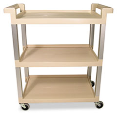 RCP 9T6571BG Rubbermaid Commercial Three-Shelf Service Cart with Brushed Aluminum Uprights RCP9T6571BG