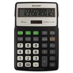 SHR ELR287BBK Sharp EL-R287BBK Recycled Series Semi-Desk Display Calculator with Kickstand SHRELR287BBK