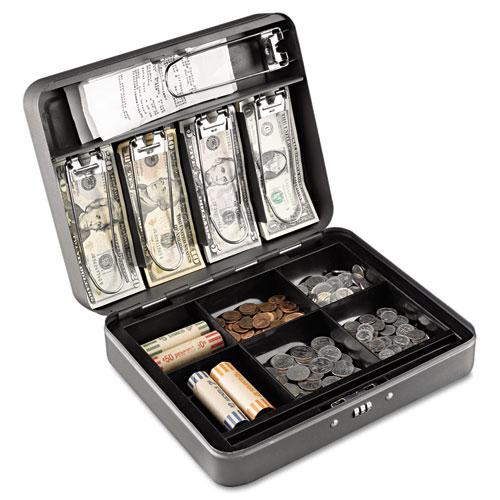 "Sparco Combination Lock Cash Box Steel 11-1//2/""x7-1//2/""x3-1//8/"" Gray 15508"