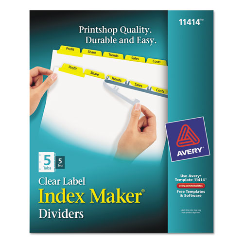 ave 11414 avery index maker print apply clear label dividers with color tabs ave11414